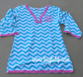 Monogrammed Chevron Tunic Shirt Swimsuit Cover Up  www.tinytulip.com Turquoise Tunic with Hot Pink Interlocking Font