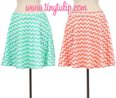 Chevron Print Flare Mini Skirt  www.tinytulip.com