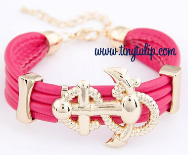 Anchor Faux Leather Bracelet Free Shipping  www.tinytulip.com Hot Pink