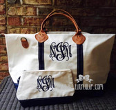 Monogrammed Navy Classic Satchel Duffle Travel Bag www.tinytulip.com Navy Interlocking Font