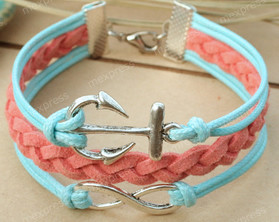 Aqua and Coral Infinity Anchor Faux Leather Bracelet Free Shipping www.tinytulip.com