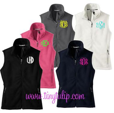 Monogrammed Ladies Full Zip Fleece Vest   www.tinytulip.com