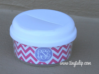 Monogrammed Snack Container   www.tinytulip.com