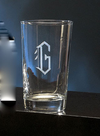 Monogrammed 8 Ounce Engraved Drinking Glass www.tinytulip.com