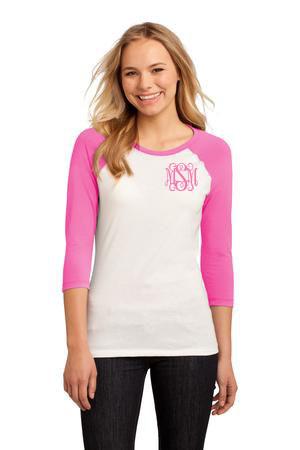 Monogrammed Pink and White ¾ Length Sleeve Raglan Tshirt www.tinytulip.com