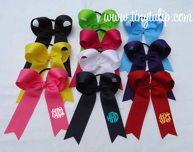 Monogrammed Large Cheer Bow Free Shipping www.tinytulip.com