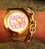 Monogrammed Custom Gold Tone Watch www.tinytulip.com Lilly Pink Interlocking Font