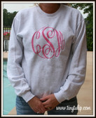 Monogrammed Crewneck Sweatshirt- Oversized Monogram www.tinytulip.com Preppy Pink on a Gray Sweatshirt