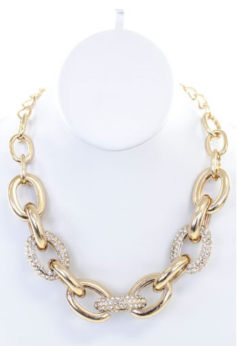 Gold Tone Large Link Chain Necklace with Rhinestones www.tinytulip.com