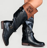 Monogrammed Two Toned Colorblock Black and Brown Riding Boots Style 3 Black Interlocking Monogram
