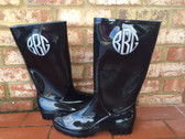 Monogrammed Rubber Rainboots  www.tinytulip.com Silver Circle Font