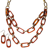 Tortoise and Gold Tone Chain Link Necklace and Earring Set