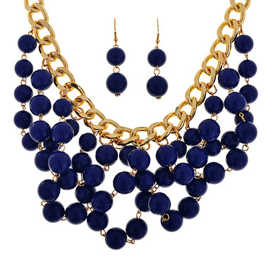Cobalt Blue Beaded Bib Chain Necklace and Earring Set www.tinytulip.com