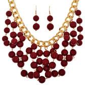 Garnet Beaded Bib Chain Necklace and Earring Set www.tinytulp.com