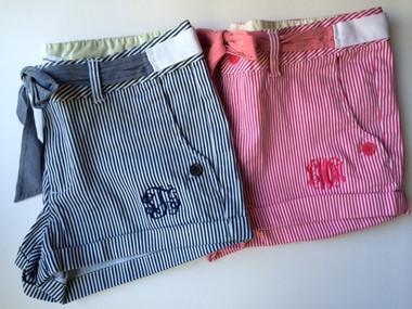 Monogrammed Striped Shorts www.tinytulip.com