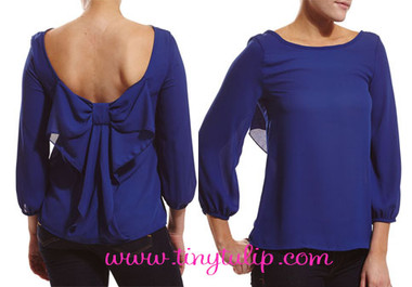 ¾ Sleeve Chiffon Top With Back Bow www.tinytulip.com