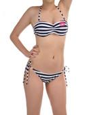 Double Monogrammed Navy Striped Bikini www.tinytulip.com