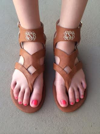 Monogrammed Gladiator Sandals www.tinytulip.com Brown with Interlocking Font