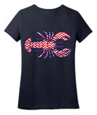 Monogrammed Tiny Tulip Preppy Chevron Lobster Tshirt