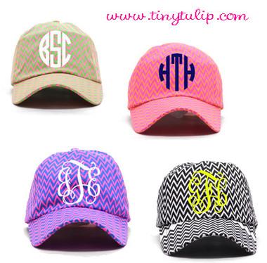 Monogrammed Chevron Baseball Hat www.tinytulip.com