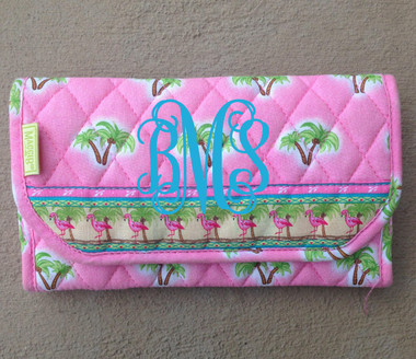 Crossbody Quilted Pattern Wallet www.tinytulip.com Pink Palm Trees