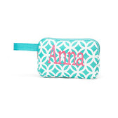 Monogrammed Aqua Geometric Print Pencil Accessory Bag