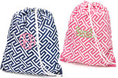 Monogrammed Greek Key Drawstring Gym Backpack www.tinytulip.com