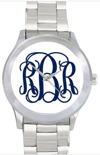 Silver Monogram Watch www.tinytulip.com