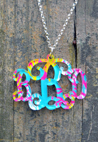 Floating Pattern Monogram Necklace www.tinytulip.com Reef