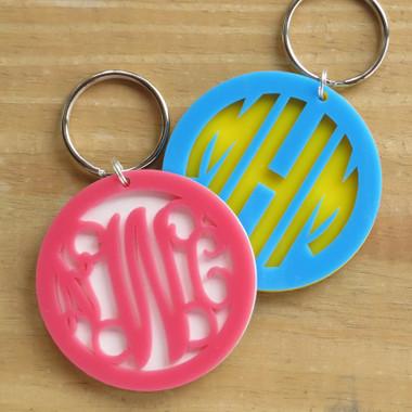 Layered Circle Monogram Keychain www.tinytulip.com