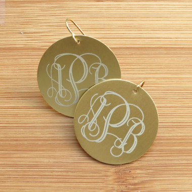 silver monogram sterling script earrings
