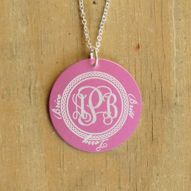 Metal Engraved Monogram Family Pendant Necklace www.tinytulip.com