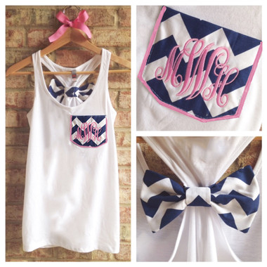 Monogrammed Navy Chevron Pocket Bow White Racerback Tank with Pink Emma Font www.tinytulip.com