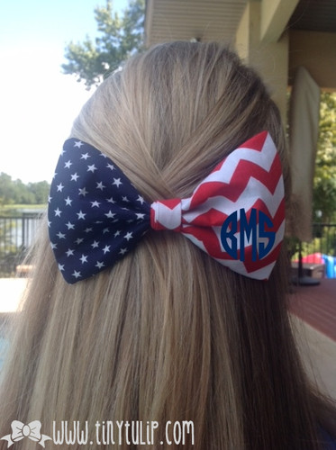 Monogrammed Patriotic Stars and Chevron Hair Bow www.tinytulip.com