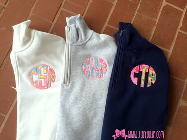 Monogrammed Lilly Pulitzer Quarter Zip Pullover www.tinytulip.com