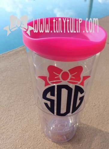 Monogrammed Bow Acrylic Tumbler www.tinytulip.com Hot Pink Bow with Navy Circle Font