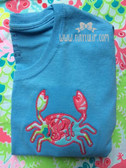 Monogrammed Lilly Pulitzer Crab Applique Shirt www.tinytulip.com Hot Pink Monogram on Checking In Blue Fabric