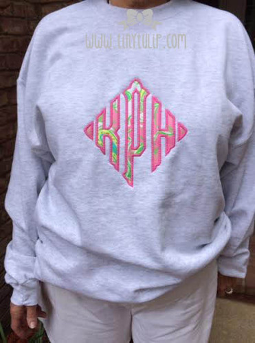 Lilly Pulitzer Oversized Diamond Monogrammed Sweatshirt www.tinytulip.com Preppy Pink on Chin Chin Fabric