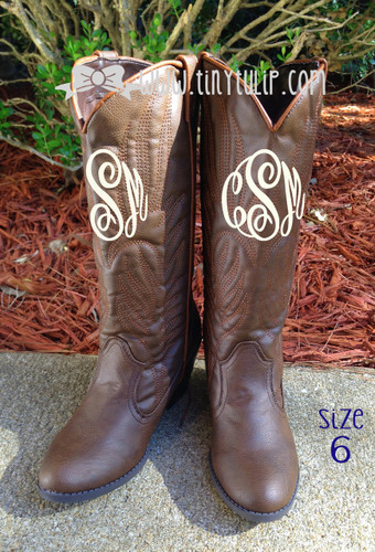 Monogrammed Brown Cowboy Western Boots Size 6 www.tinytulip.com