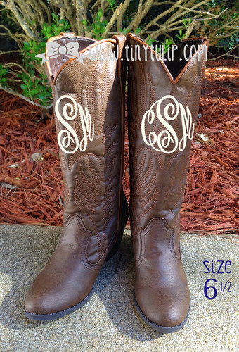 Monogrammed Brown Cowboy Western Boots Size 6 1/2  www.tinytulip.com Cream Master Script Font
