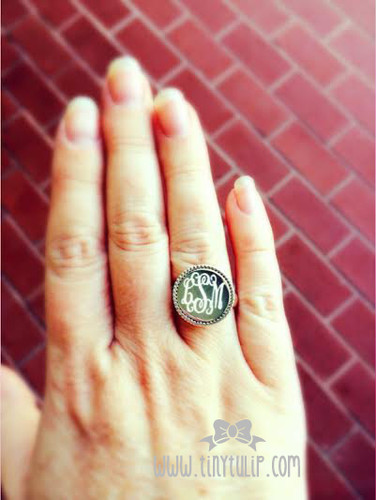 Engraved Circle Sterling Silver Monogrammed Ring www.tinytulip.com