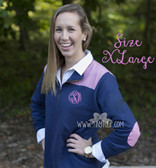 Monogrammed Navy Gingham Extra Large Pullover   www.tinytulp.com Preppy Pink Master Script Font