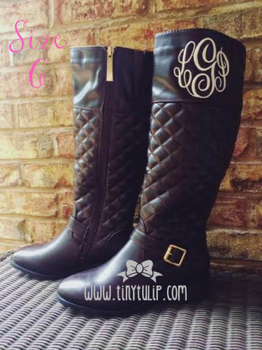 monogrammed quilted riding boot size 6