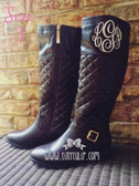 Monogrammed Quilted Riding Boot Size 9  www.tinytulip.com Cream Master Script