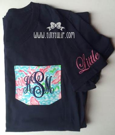 Lilly Pulitzer Pocket Big & Little TShirt www.tinytulip.com Navy Emma Font on Lobstah Roll
