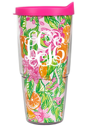 Lilly Pulitzer Monogrammed Peelin' Out Large Tumbler with Lid www.tinytulip.com White Interlocking Font
