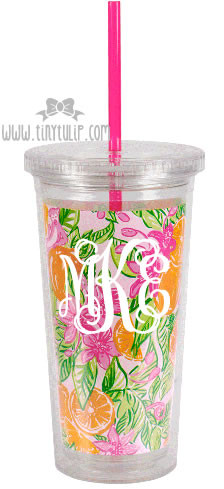 Lilly Pulitzer Peelin' Out Acrylic Tumbler with Straw Monogrammed   White Interlocking Font