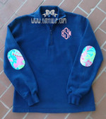 Monogrammed Quarter Zip Sweatshirt with Lilly Pulitzer Elbow Patches Coral Diamond Font with Checking In Blue Fabric on Navy