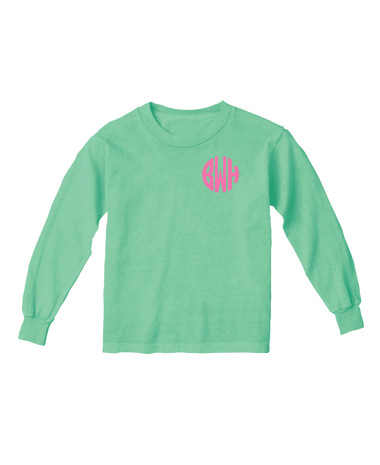 Monogrammed Island Reef Youth Long Sleeve Tshirt  www.tinytulip.com Preppy Pink Circle Font