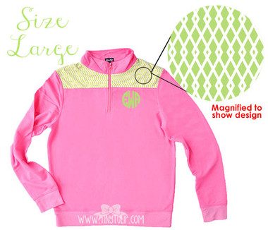 Monogrammed Pink Criss Cross Pullover Large www.tinytulip.com